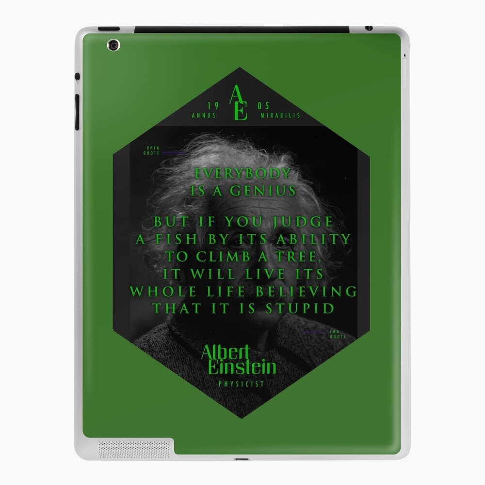 Quotes From Albert Einstein On Genius Poster Sticker Gifts And T Shirts Ipad Case Skin By Tasnim Saadon Redbubble
