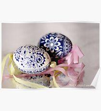 White egg, blue Czech Eggs Poster