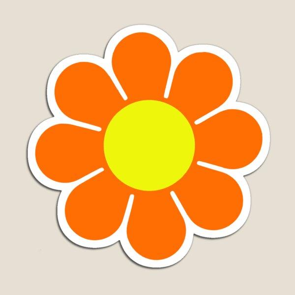 Orange Yellow Hippy Flower Power Daisy Magnet