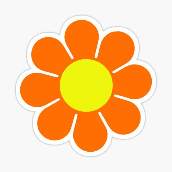 Orange Yellow Hippy Flower Power Daisy Sticker