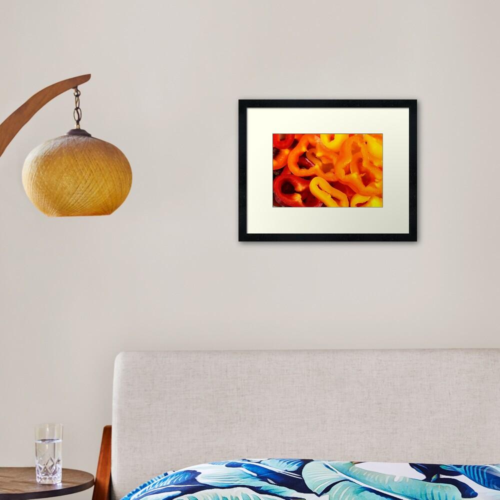 Sliced baby capsicums Framed Art Print