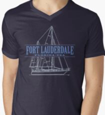 Fort Lauderdale Florida sailing, vacation and marina gear Men's V-Neck T-Shirt
