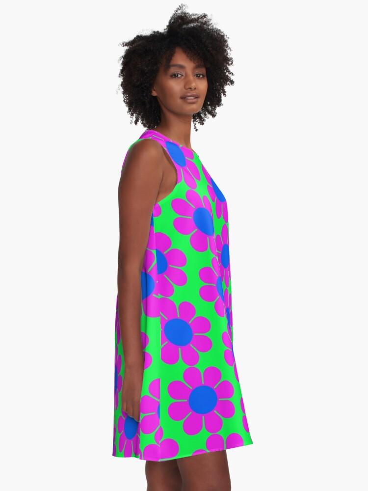 Alternate view of Pink Blue Hippie Flower Power Daisy A-Line Dress
