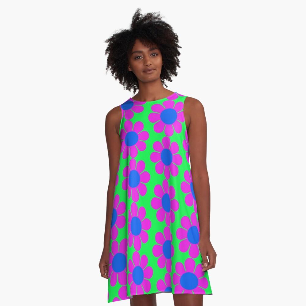 Pink Blue Hippie Flower Power Daisy A-Line Dress