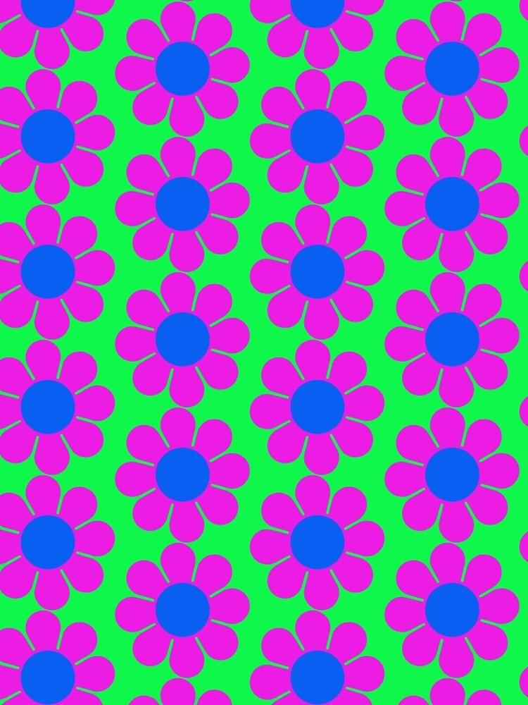 Pink Blue Hippie Flower Power Daisy by hilda74