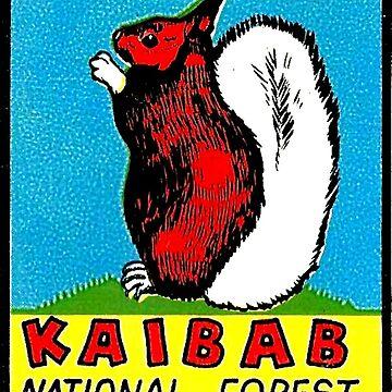 Calcomanía de viaje vintage de ardilla de cola blanca de Kaibab de hilda74