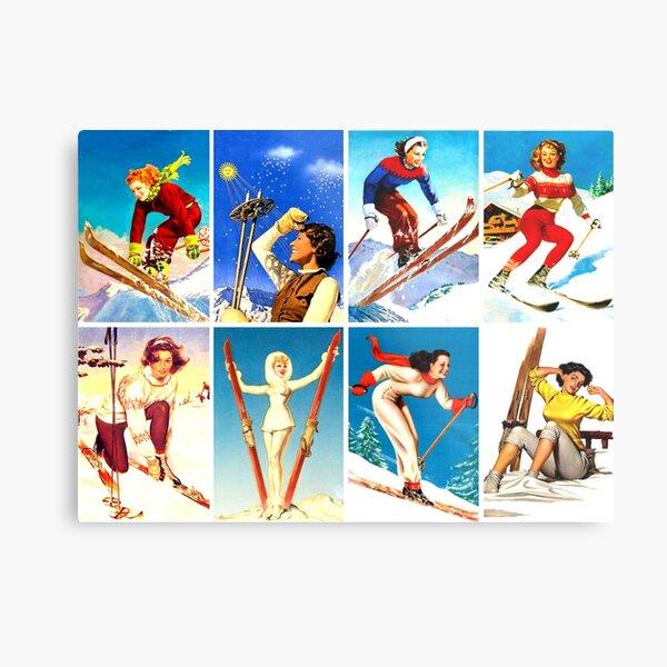 Vintage Ski Girls Montage  Metal Print