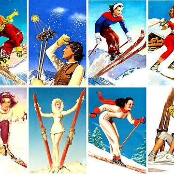 Montaje de chicas de esquí vintage de hilda74
