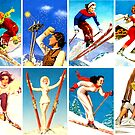«Montaje de chicas de esquí vintage» de hilda74