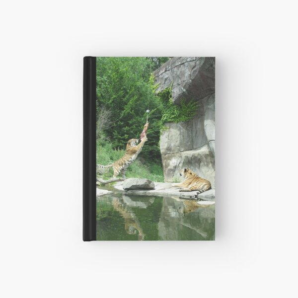Tiger couple at snacktime, vertical Hardcover Journal