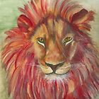 Abstract Lion in Red by Marcella Chapman