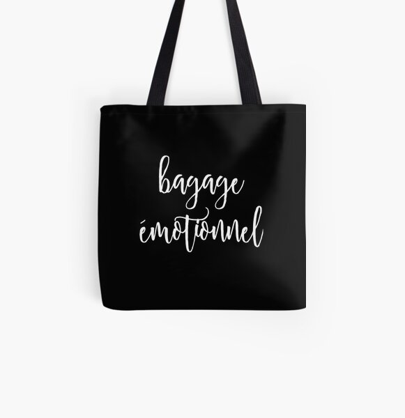 bagage émotionnel (white script on black)  All Over Print Tote Bag
