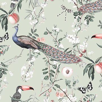 Orientalisches Pfauentukan-Blumenmuster von junkydotcom