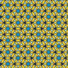 Blue Stars on Yellow Background by Gravityx9