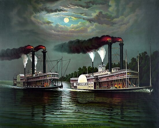 Race Of The Steamers Robert E. Lee and Natchez by warishellstore