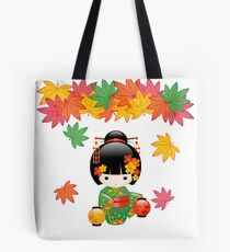 Japanese Fall Kokeshi Doll Tote Bag