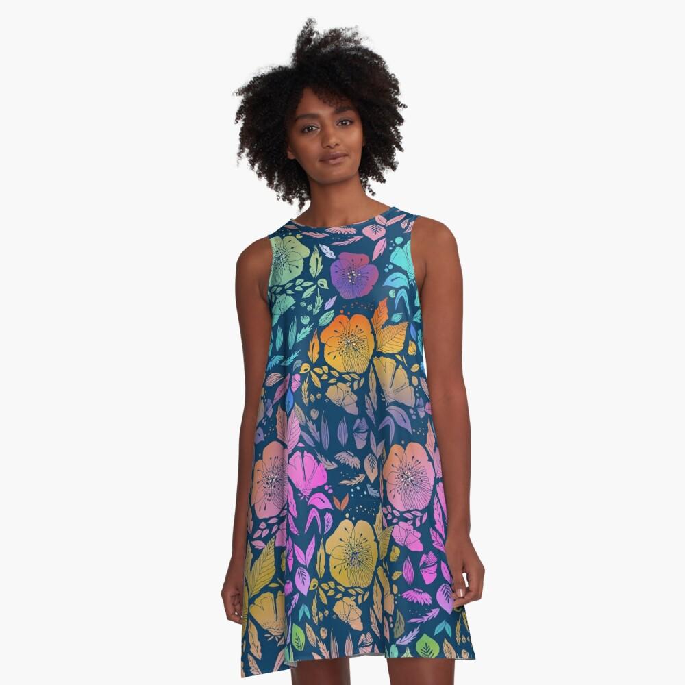 California Blossoms A-Line Dress