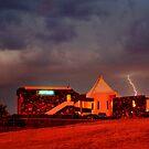 Lightning Over Lighthouse Resort by Sheldon Pettit