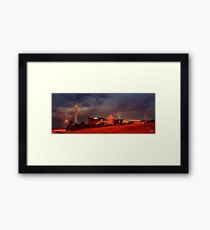 Lightning Over Lighthouse Resort Framed Print