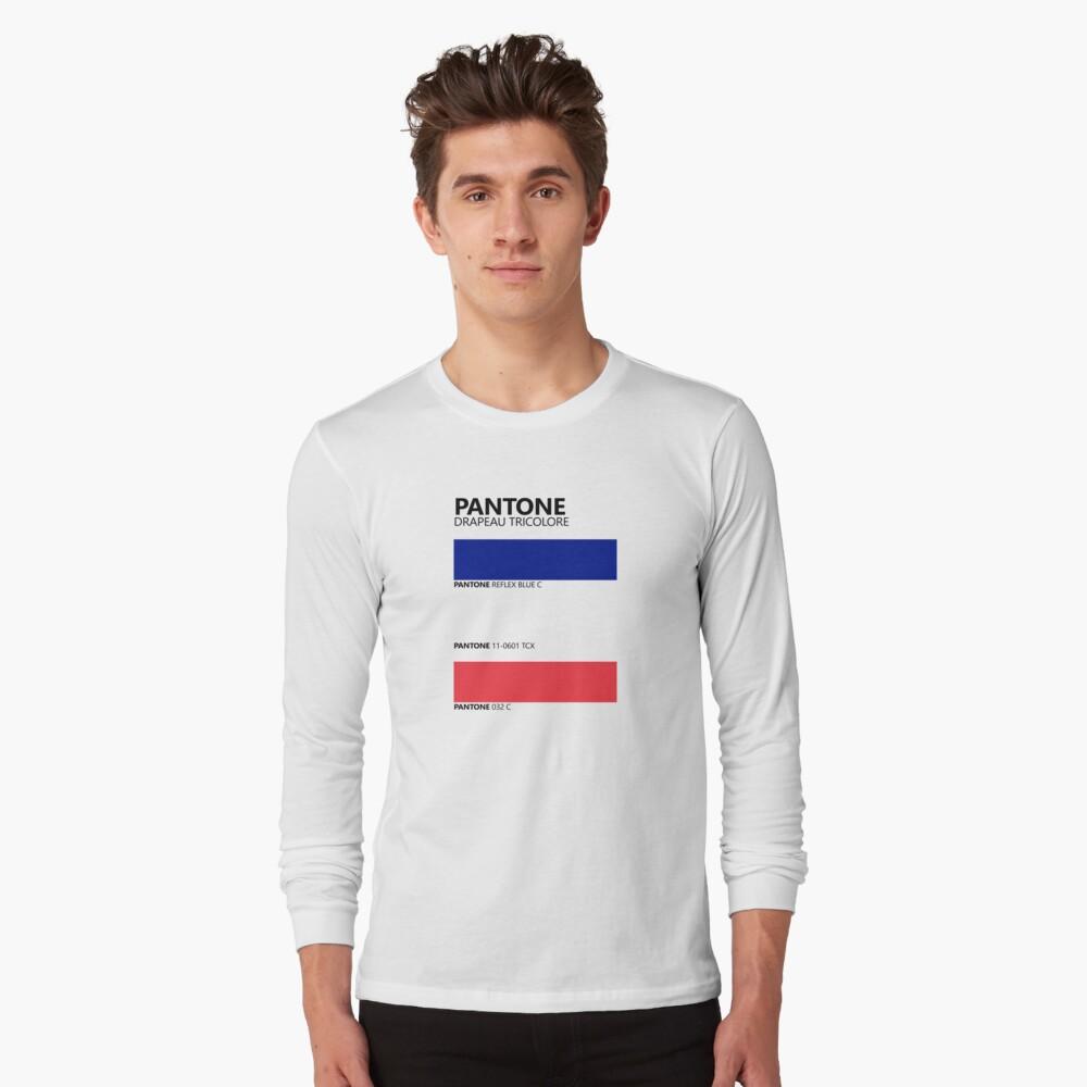 Pantone Drapeau Tricolore Paleta de colores de bandera francesa Camiseta de manga larga