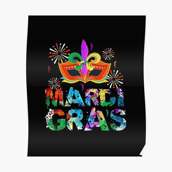 Mardi Gras Mask Fireworks Mascarade Cute  Poster