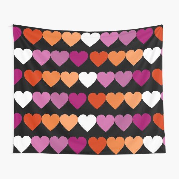 New Orange Pink Lesbian Flag Hearts Tapestry