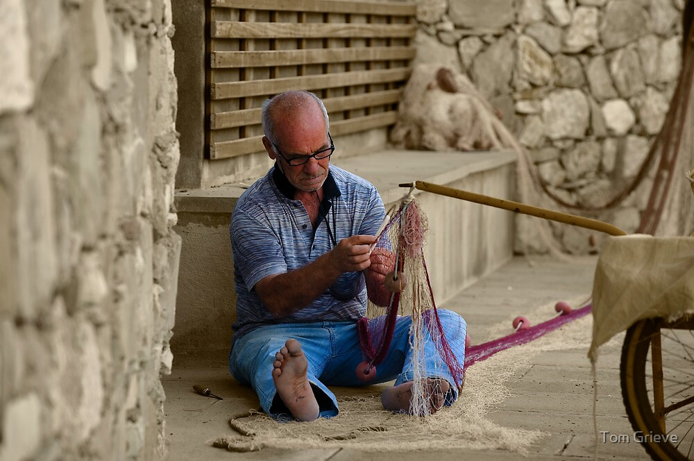 Fisherman in Monterosso, Italy - B&W by Tom Grieve