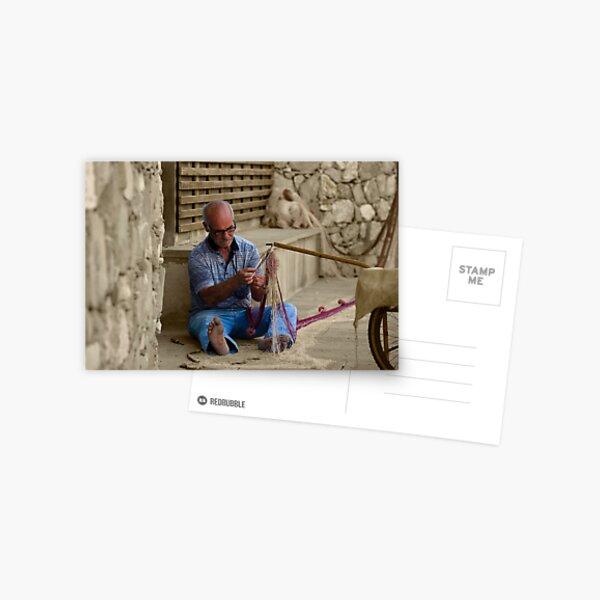 Fisherman in Monterosso, Italy - B&W Postcard