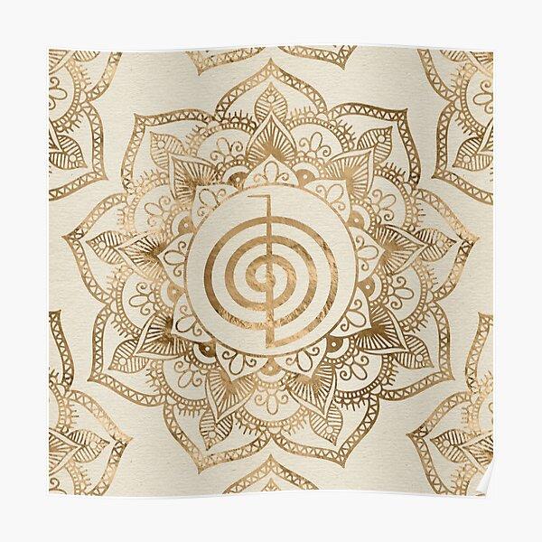 Cho Ku Rei - pastel gold lotus mandala Poster