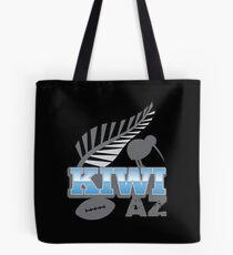 KIWI AZ with New Zealand kiwi bird rugby ball and silver fern Tote Bag