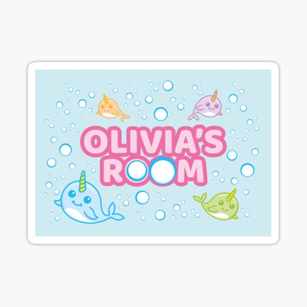 Personalised Narwhal Isla S Room Sea Unicorn Bedroom Poster Door Sign Sticker By Ltfrstudio Redbubble