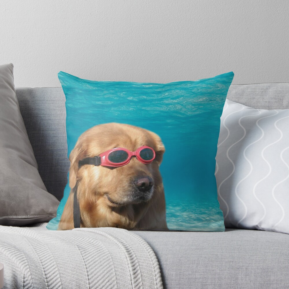 Swimmer Dog Throw Pillow