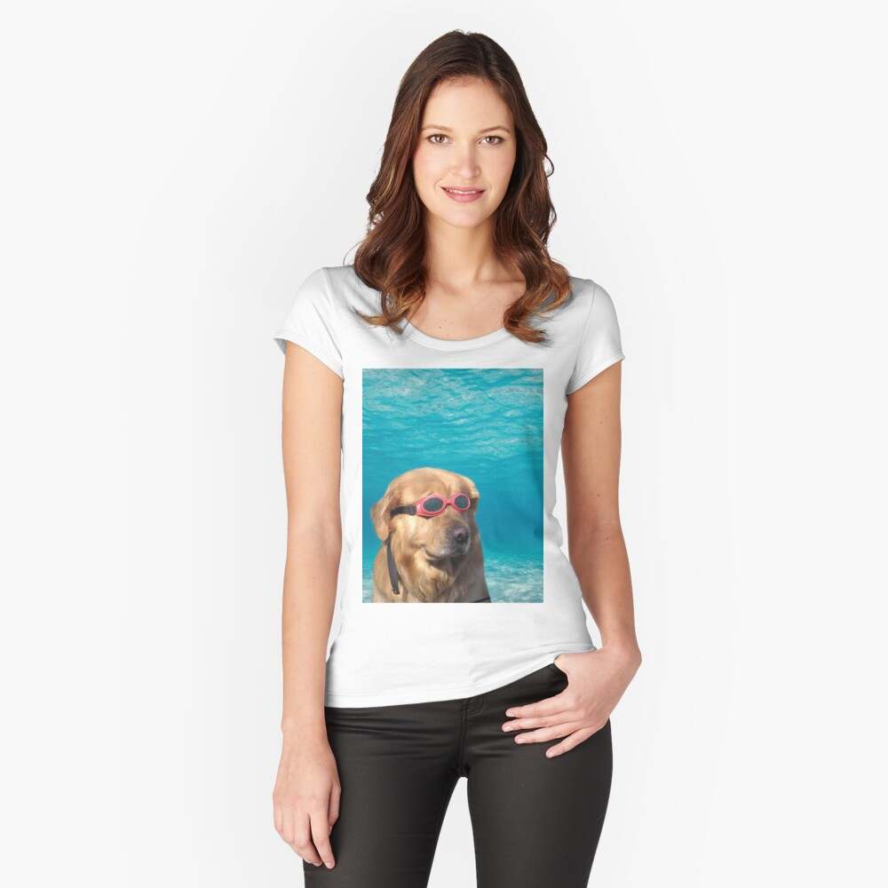 Swimmer Dog Fitted Scoop T-Shirt