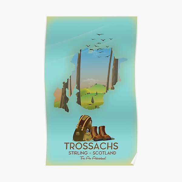 Trossachs Stirling Scotland hiking map poster Poster