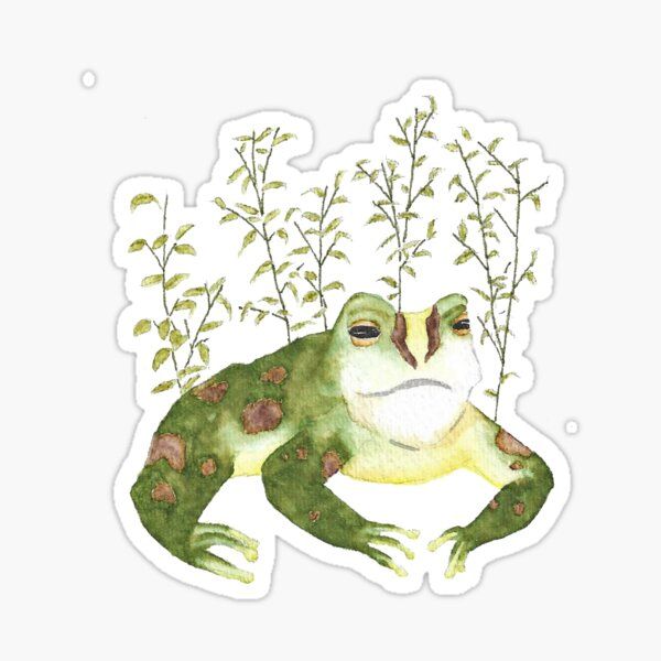 Watercolor Frog Among Leaves Sticker