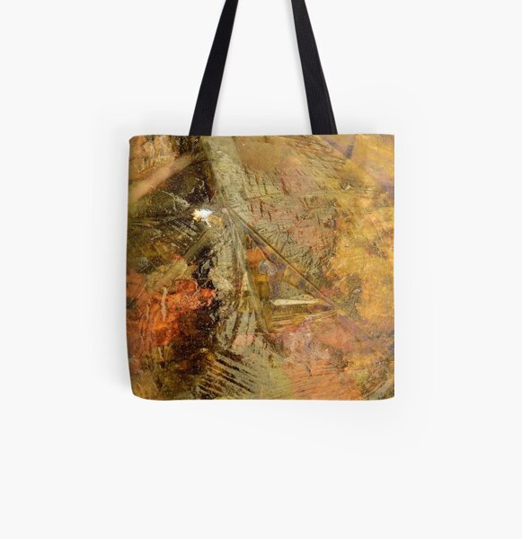 Leaves Beneath Ice All Over Print Tote Bag