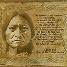 Sitting Bull Warrior Zitat. Rustikaler Druck von Irisangel