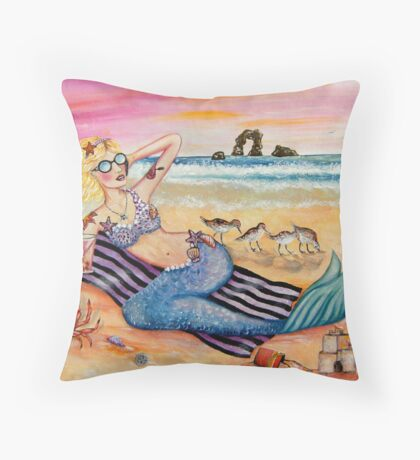 Mermaid on Vacation Throw Pillow