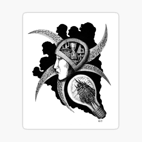 Dreaming surreal pen ink black and white drawing Sticker