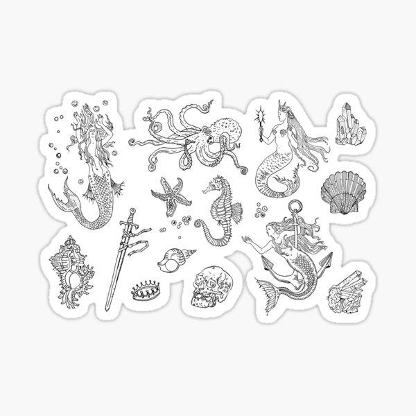 Vintage mermaid seamless pattern. Sticker