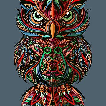 Psychedelic Woodcut Owl by machmigo
