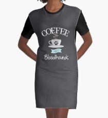 Bloodhound Dog Design - Kaffee und Bluthunde T-Shirt Kleid