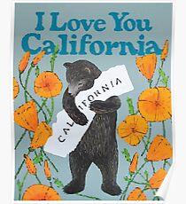 Póster Abrazo de oso de California con amapolas