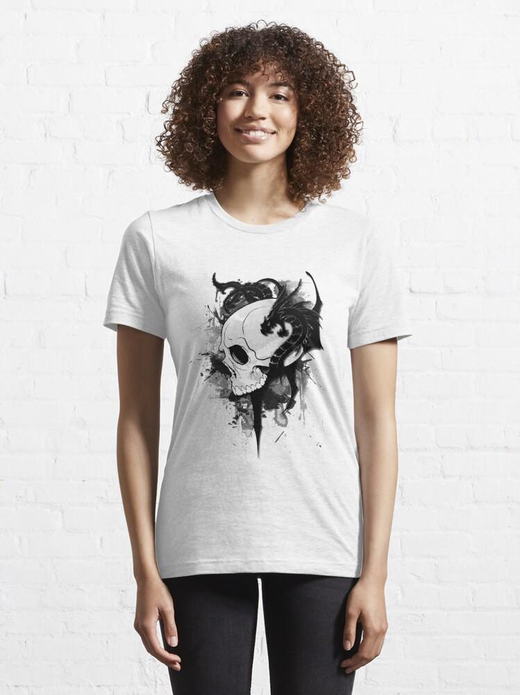 Alternate view of dragons on skull  tattoo Essential T-Shirt