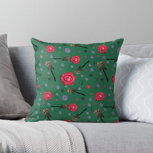 Green roses and guitars Throw Pillow