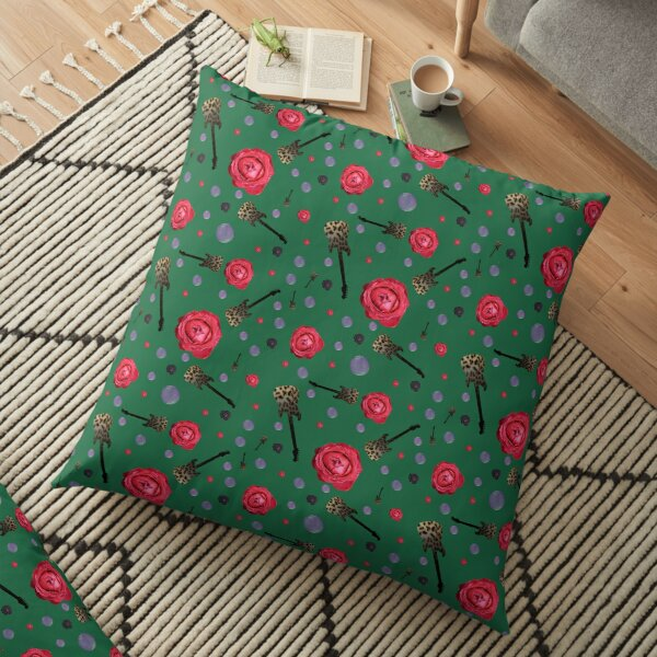Green roses and guitars Floor Pillow