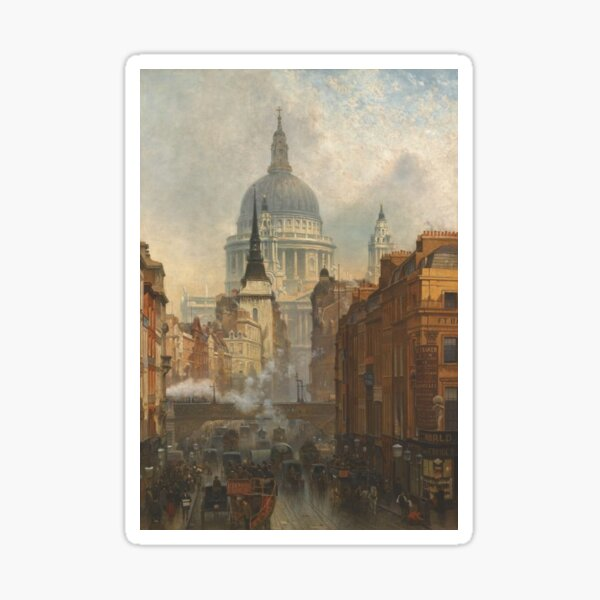 London skyline, view of St Paul's Cathedral and Fleet Street, antique  illustration from Victorian era Sticker