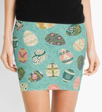 Floral Easter Eggs in Aqua Mini Skirt