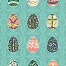 Floral Easter Eggs in Aqua by latheandquill