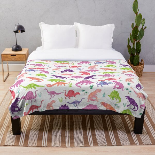 Watercolor Dinosaur Silhouettes Girly Throw Blanket
